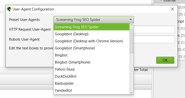 изменение user-agent в screaming frog