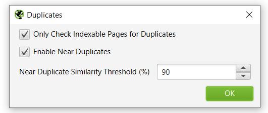 выбор процента схожести контента на страницах
