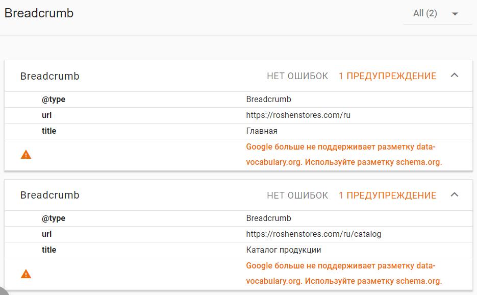 ошибки микроразметки на сайте roshenstores.com