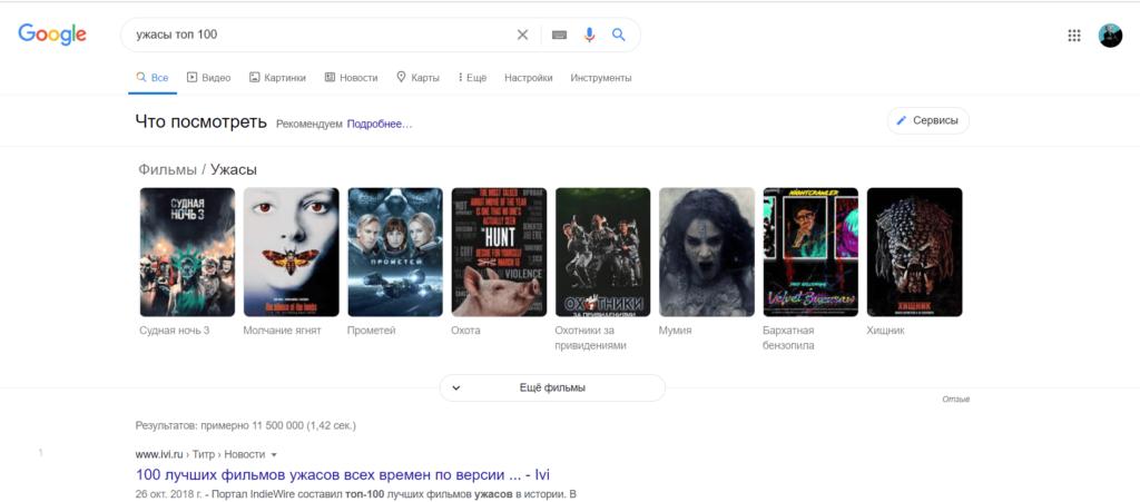 выдача google по запросу ужасы топ 100