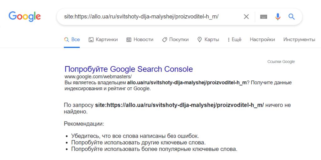 выдача google, страницы нет в индексе